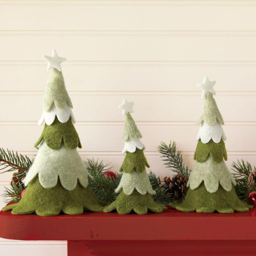 FELICITOUS FELT TREES, SET OF 3