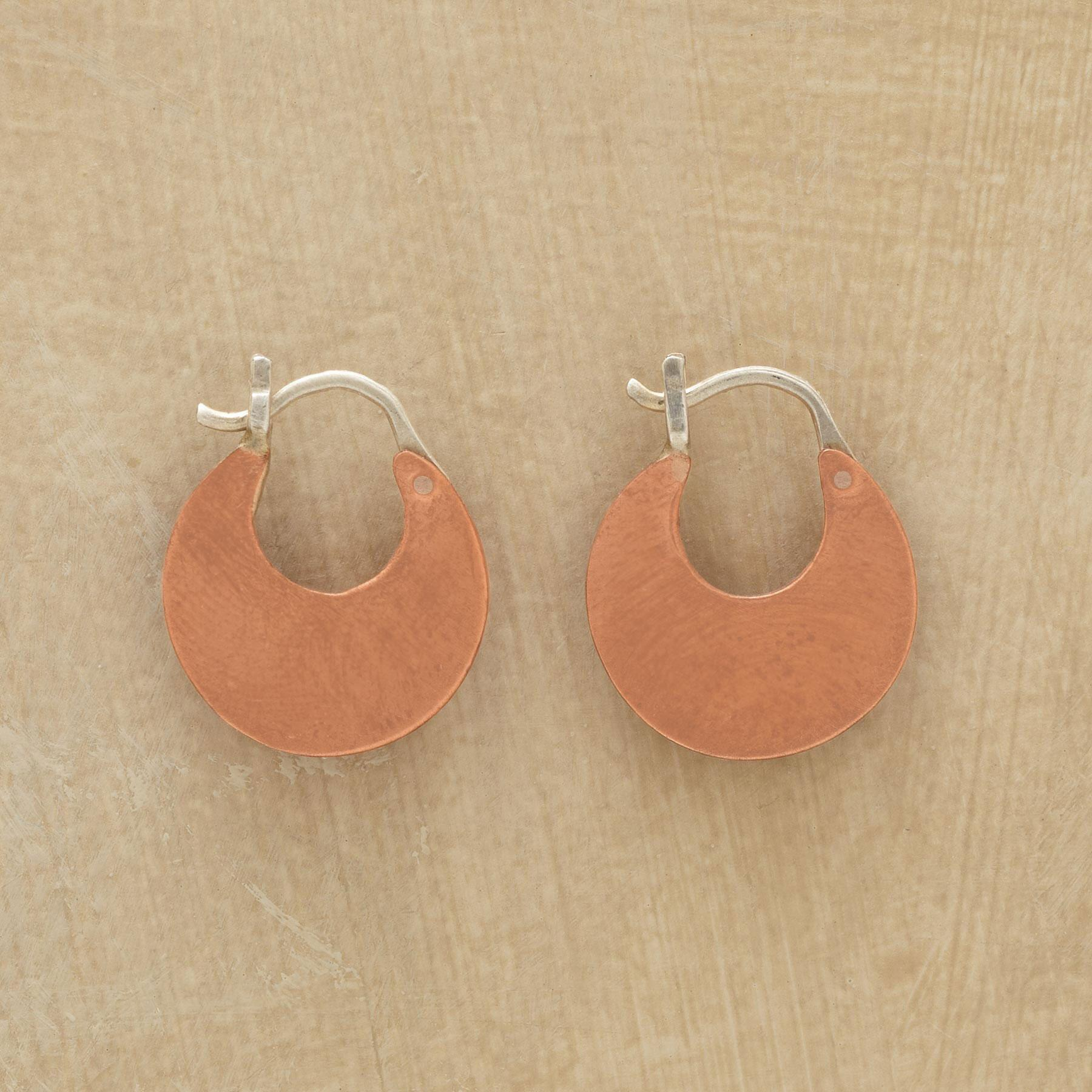 COPPER CRESCENT EARRINGS: View 1