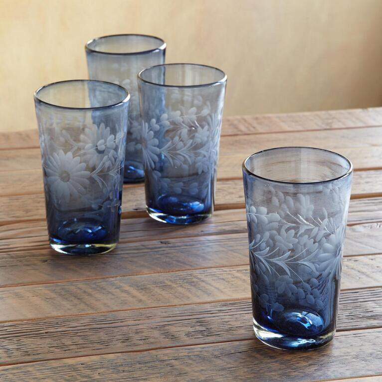 BLUE SERENADE GLASSES, SET OF 4