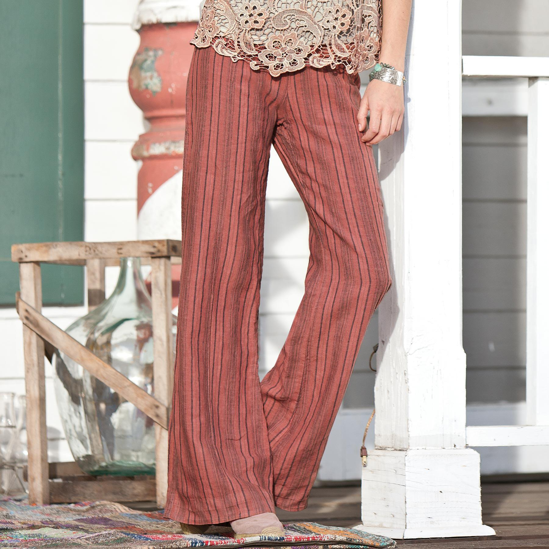 STRIPED LINEN PALAZZO PANTS: View 1