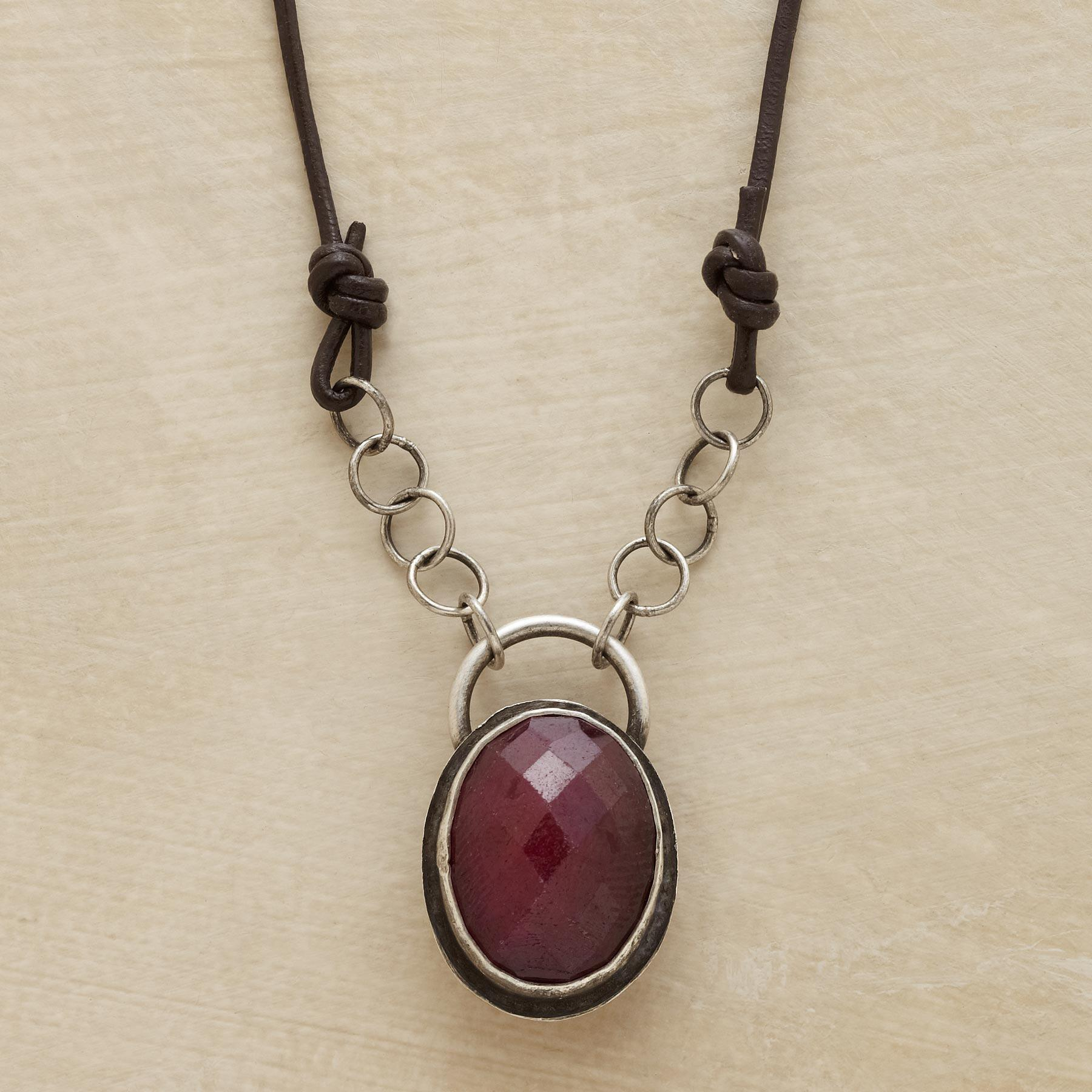 RUBY AMULET NECKLACE: View 1