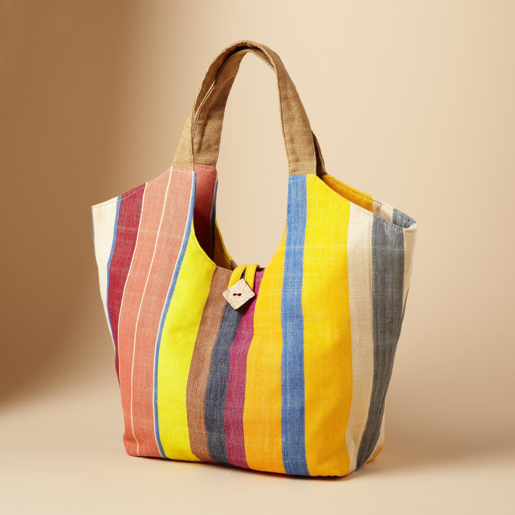 IKAT SUMMER STRIPE TOTE: View 1