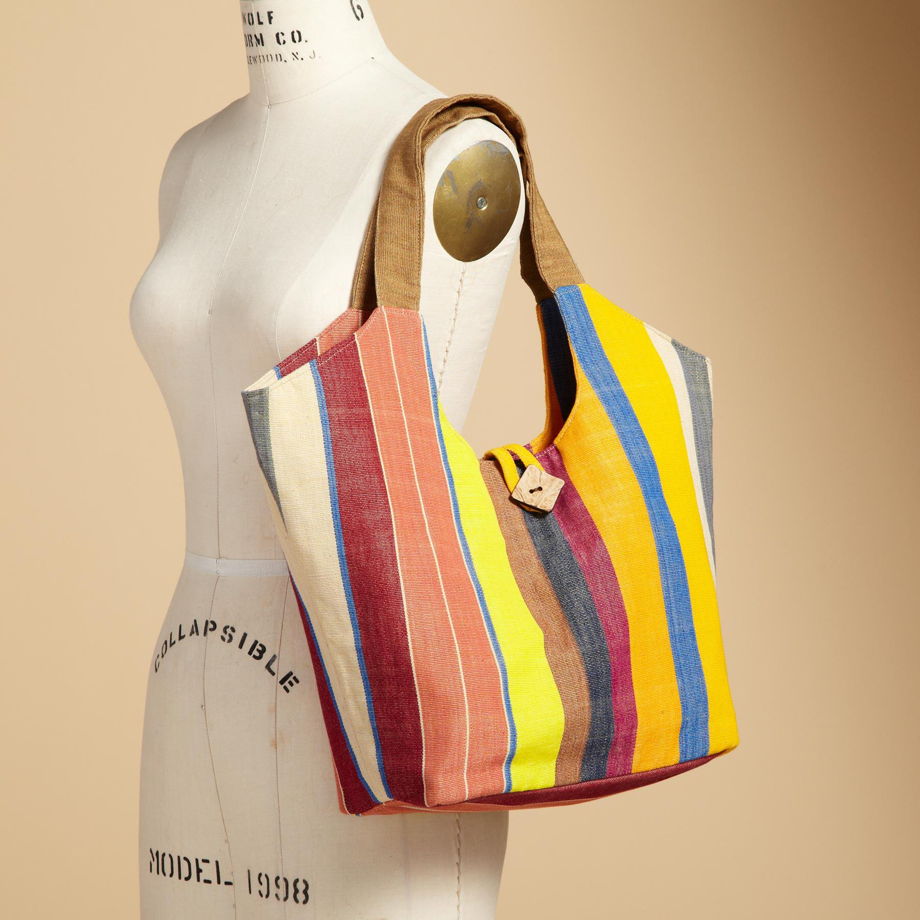 IKAT SUMMER STRIPE TOTE: View 3