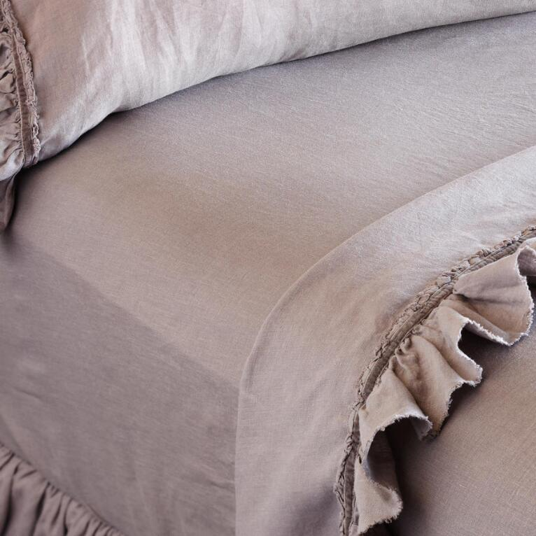 SOLID LINEN FITTED SHEET