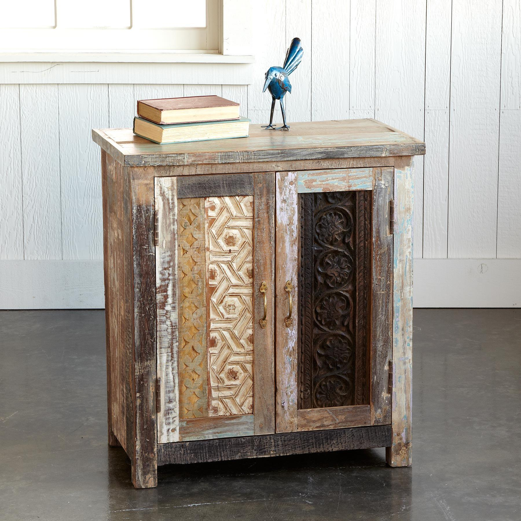 CARVED WOOD BLOCK CABINET: View 1