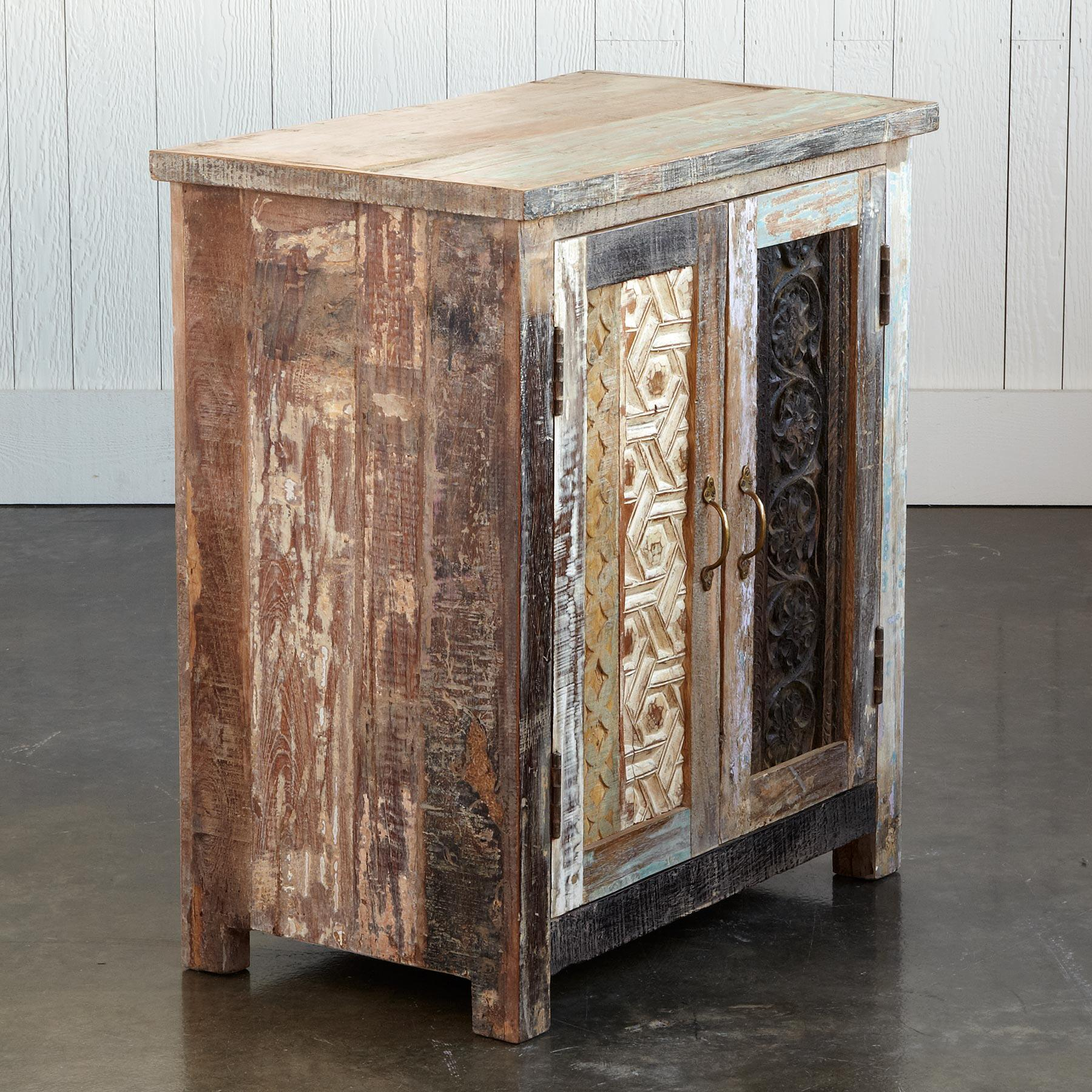 CARVED WOOD BLOCK CABINET: View 3