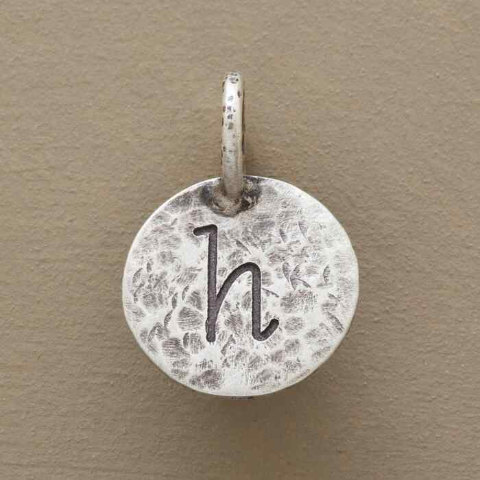 SILVER HAMMERED INITIAL CHARM