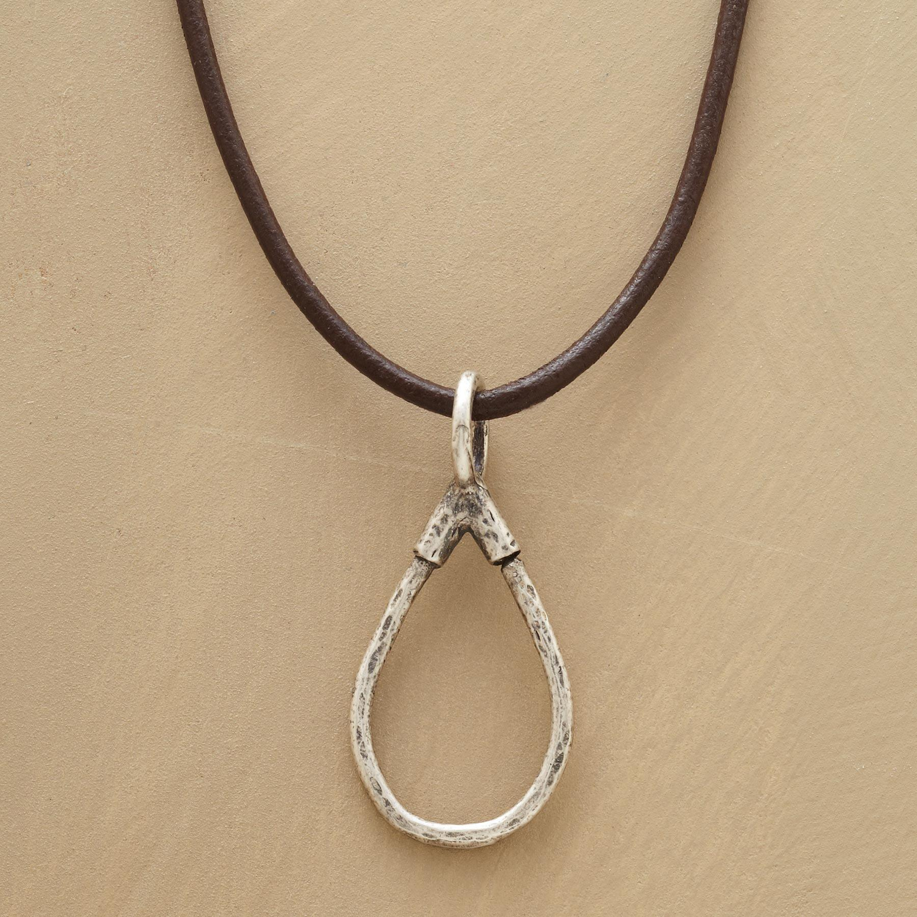 STERLING LEATHER CHARMHOLDER NECKLACE: View 1