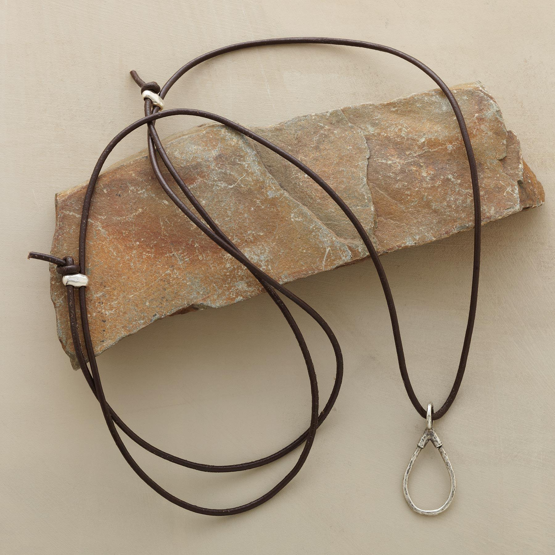 STERLING LEATHER CHARMHOLDER NECKLACE: View 2