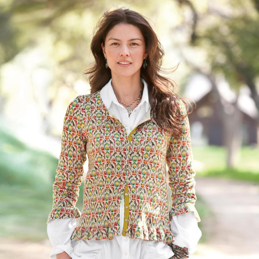 RUFFLED IKAT CARDIGAN