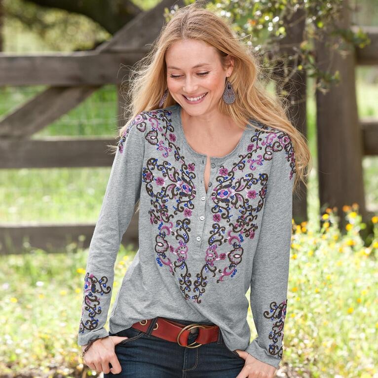 SAN MIGUEL EMBROIDERED HENLEY