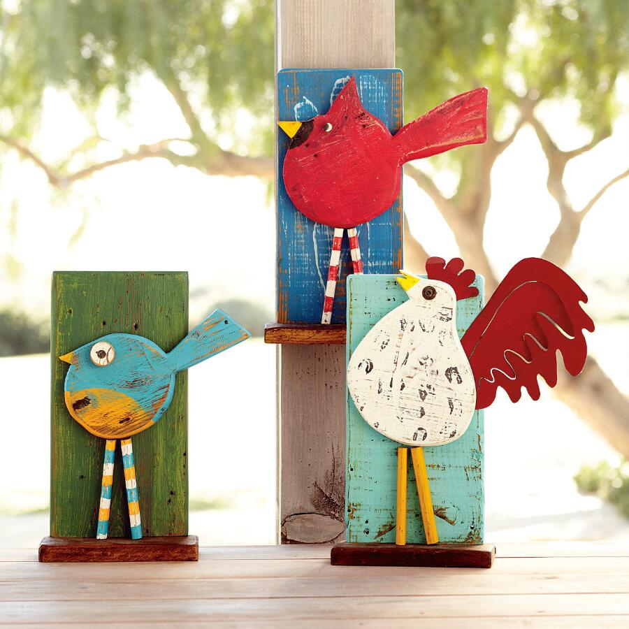 WOODEN PERCHING BIRDS, SET OF 3