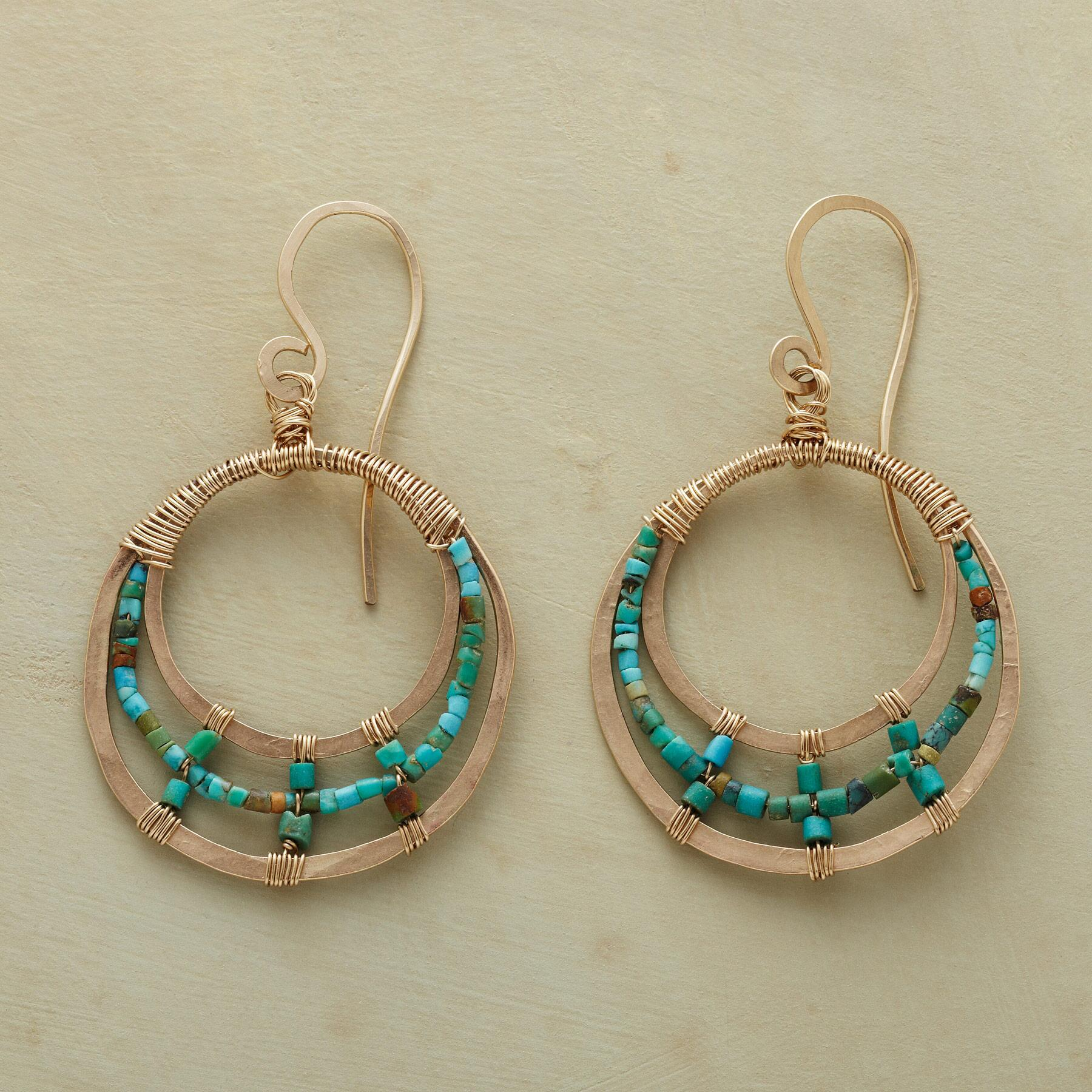 TURQUOISE TRIPLE LOOP EARRINGS: View 1