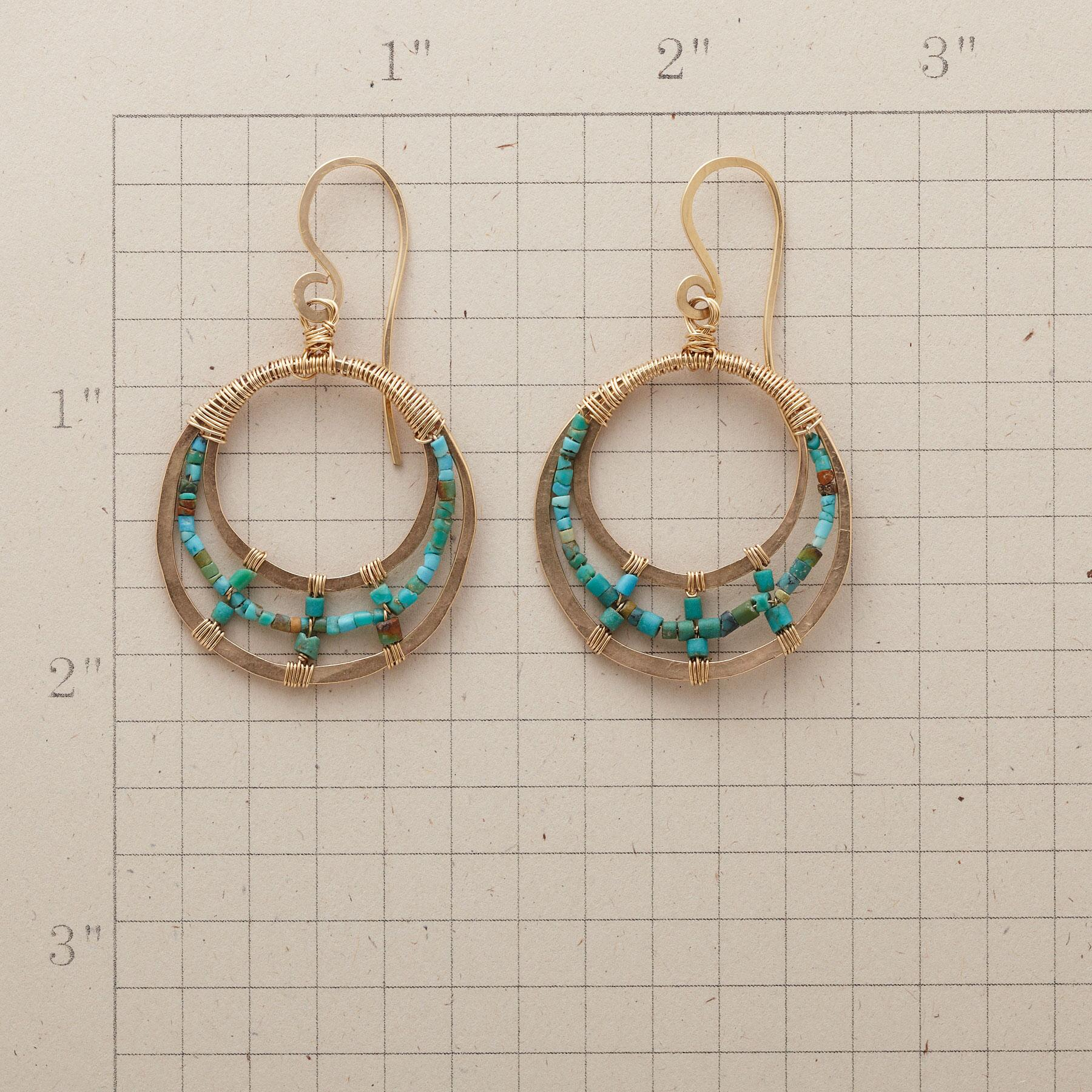 TURQUOISE TRIPLE LOOP EARRINGS: View 2