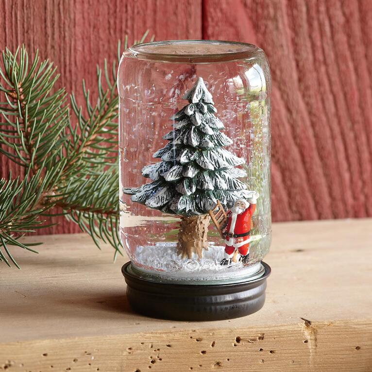 SANTA'S TREE MASON JAR SNOWGLOBE