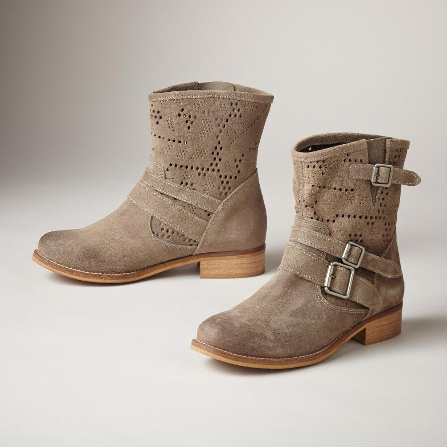 EYELET BUCKLE BOOTS