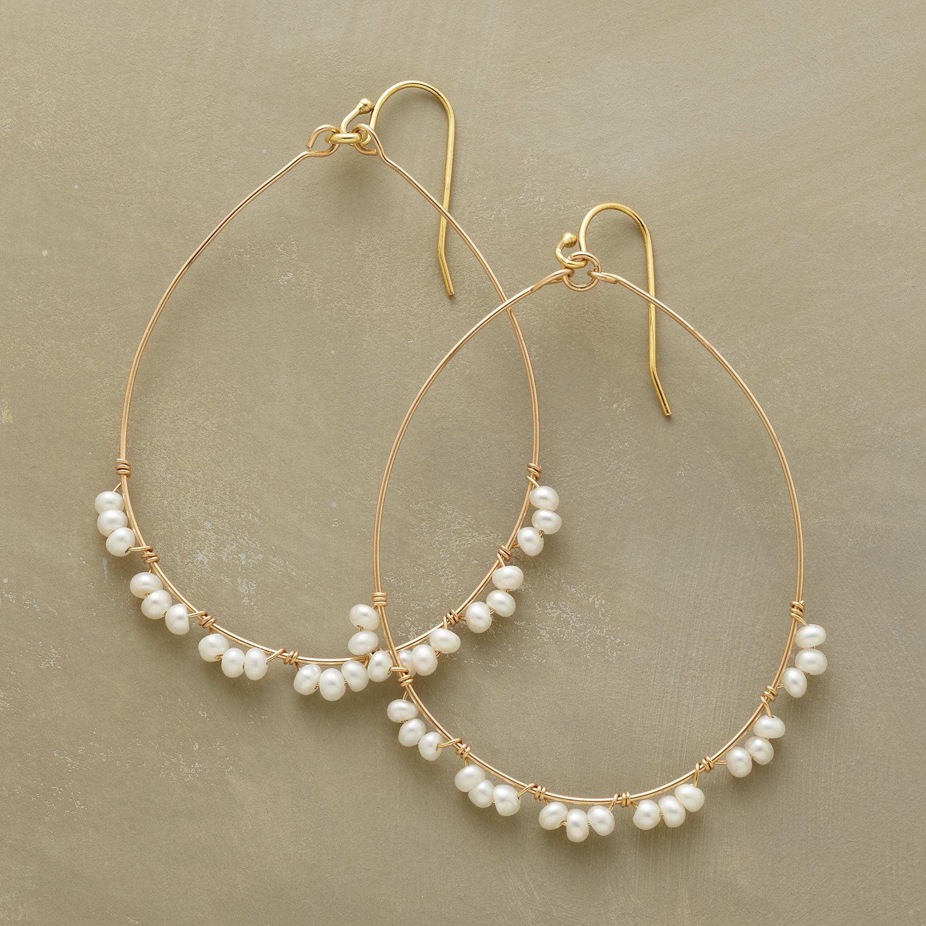 PEARL TRIMMED HOOPS: View 1