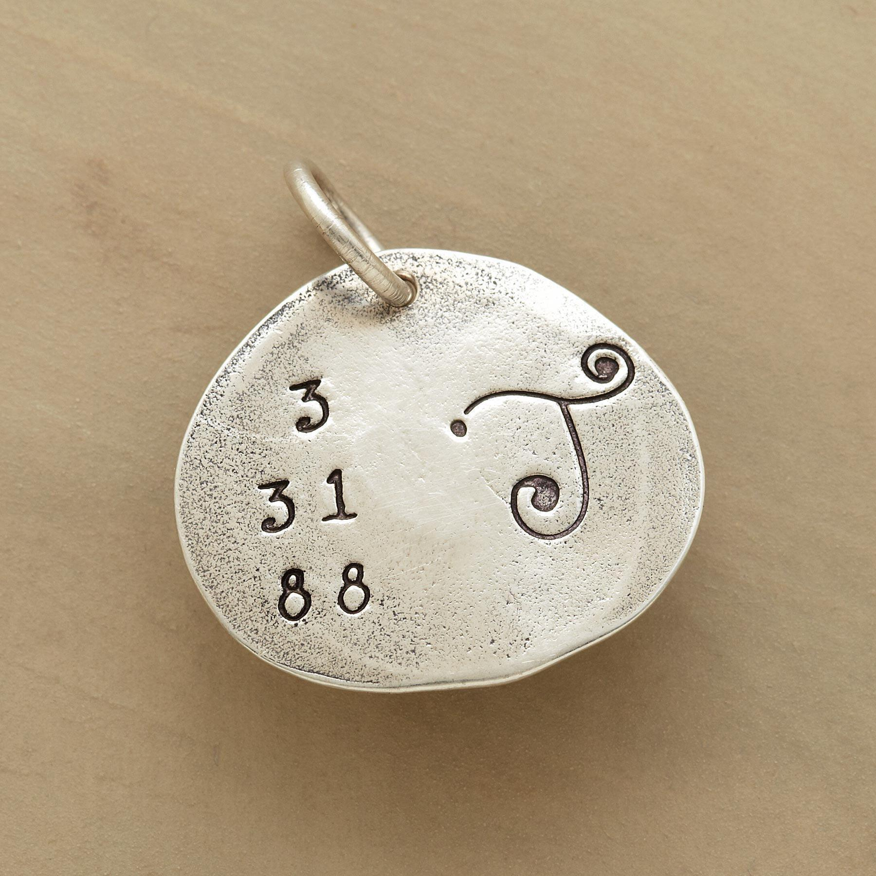 STERLING SILVER DATE & INITIAL CHARM: View 1