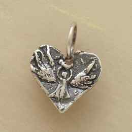 STERLING SILVER ANGEL HEART CHARM