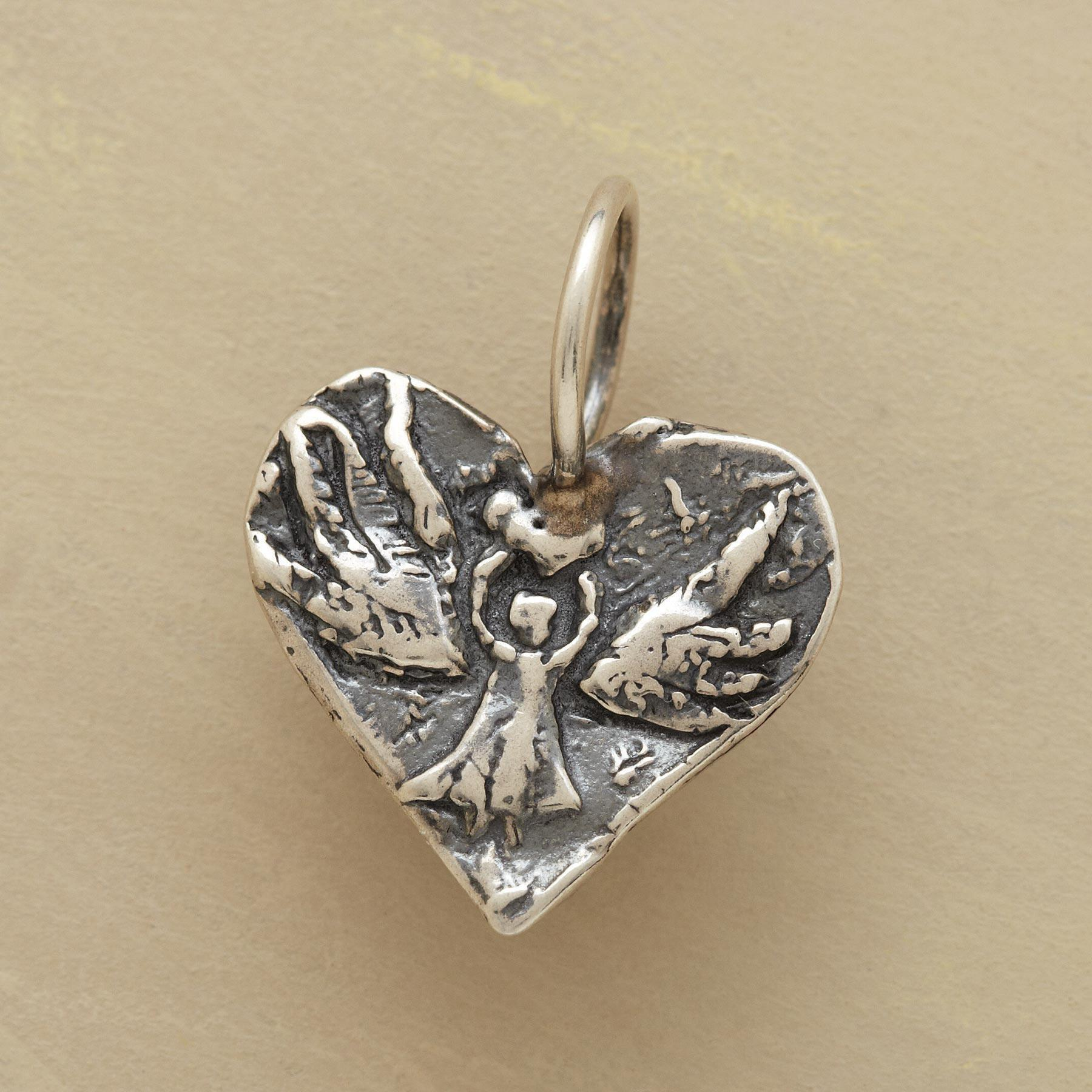 STERLING SILVER ANGEL HEART CHARM: View 1