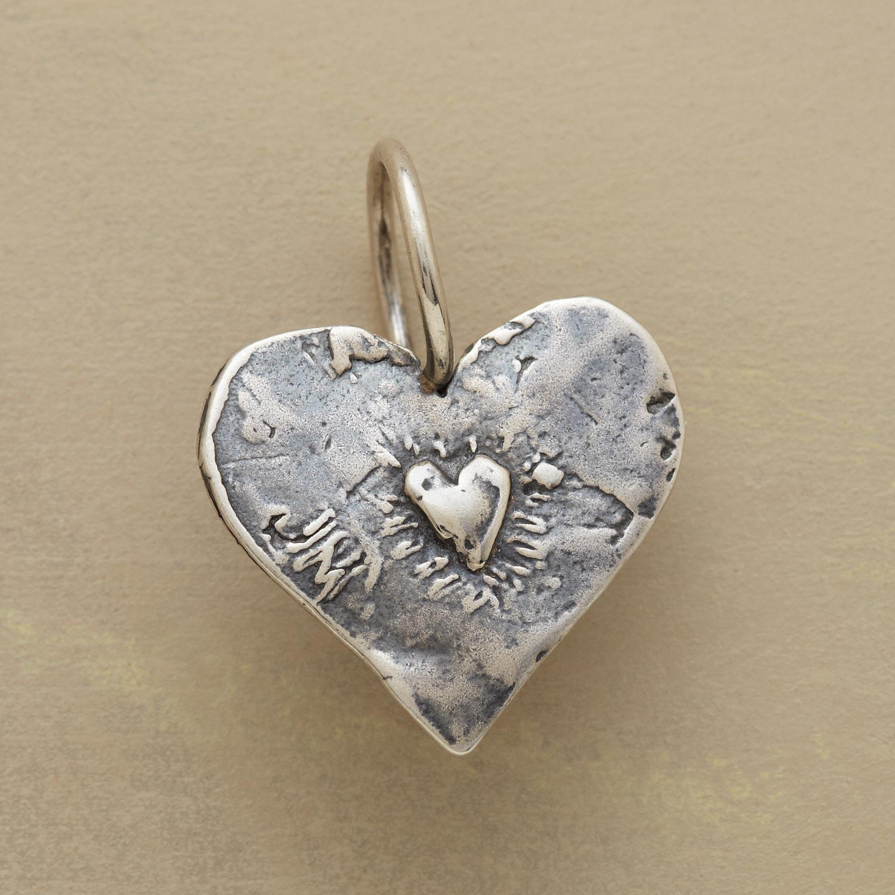 STERLING SILVER ANGEL HEART CHARM: View 2