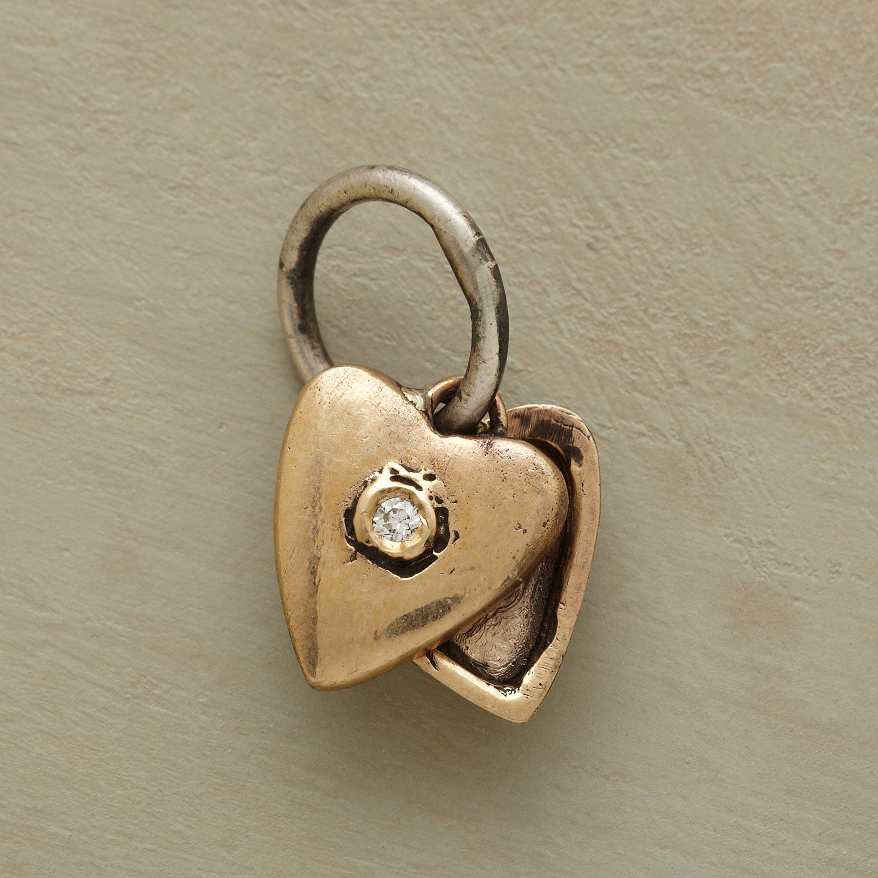 GOLD HEART LOCKET CHARM: View 1