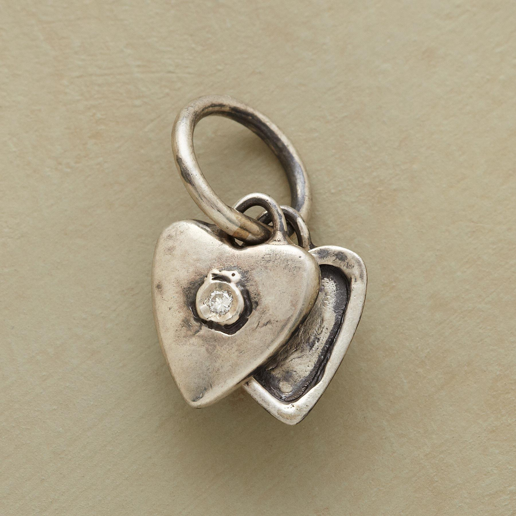 SILVER HEART LOCKET CHARM: View 1