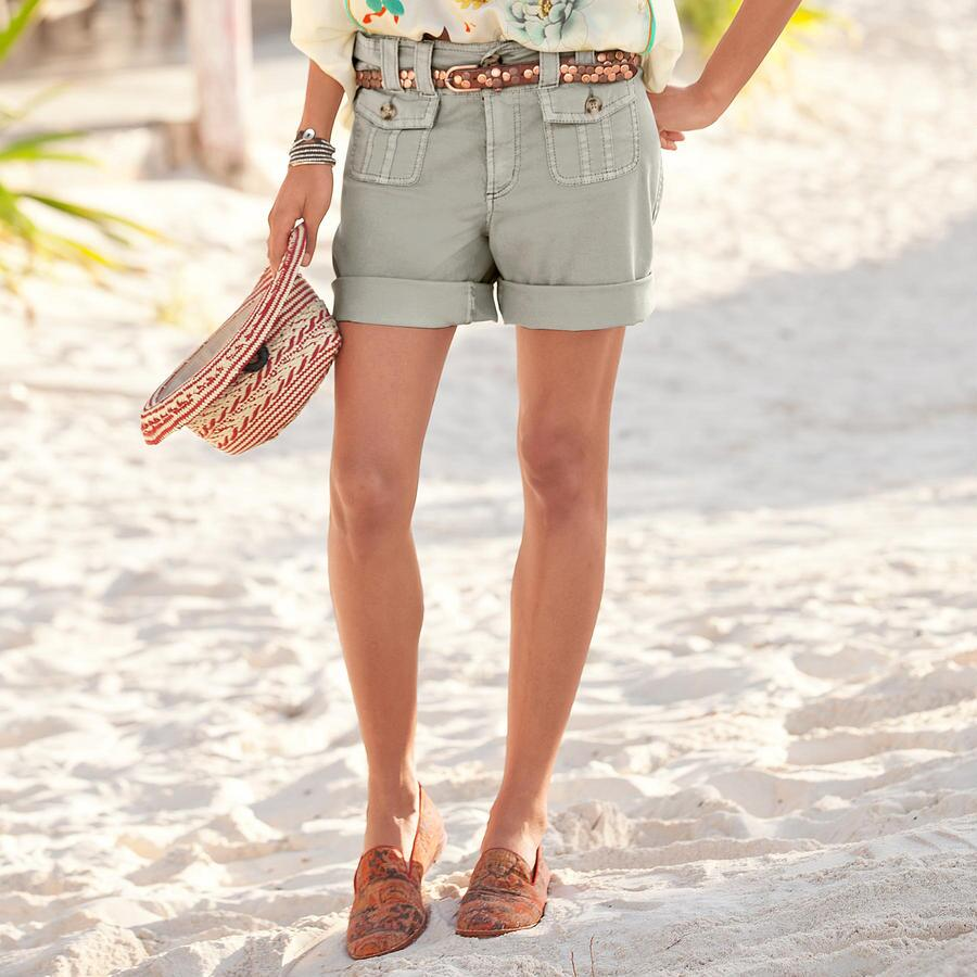 STRETCH CANVAS SHORTS - PETITES