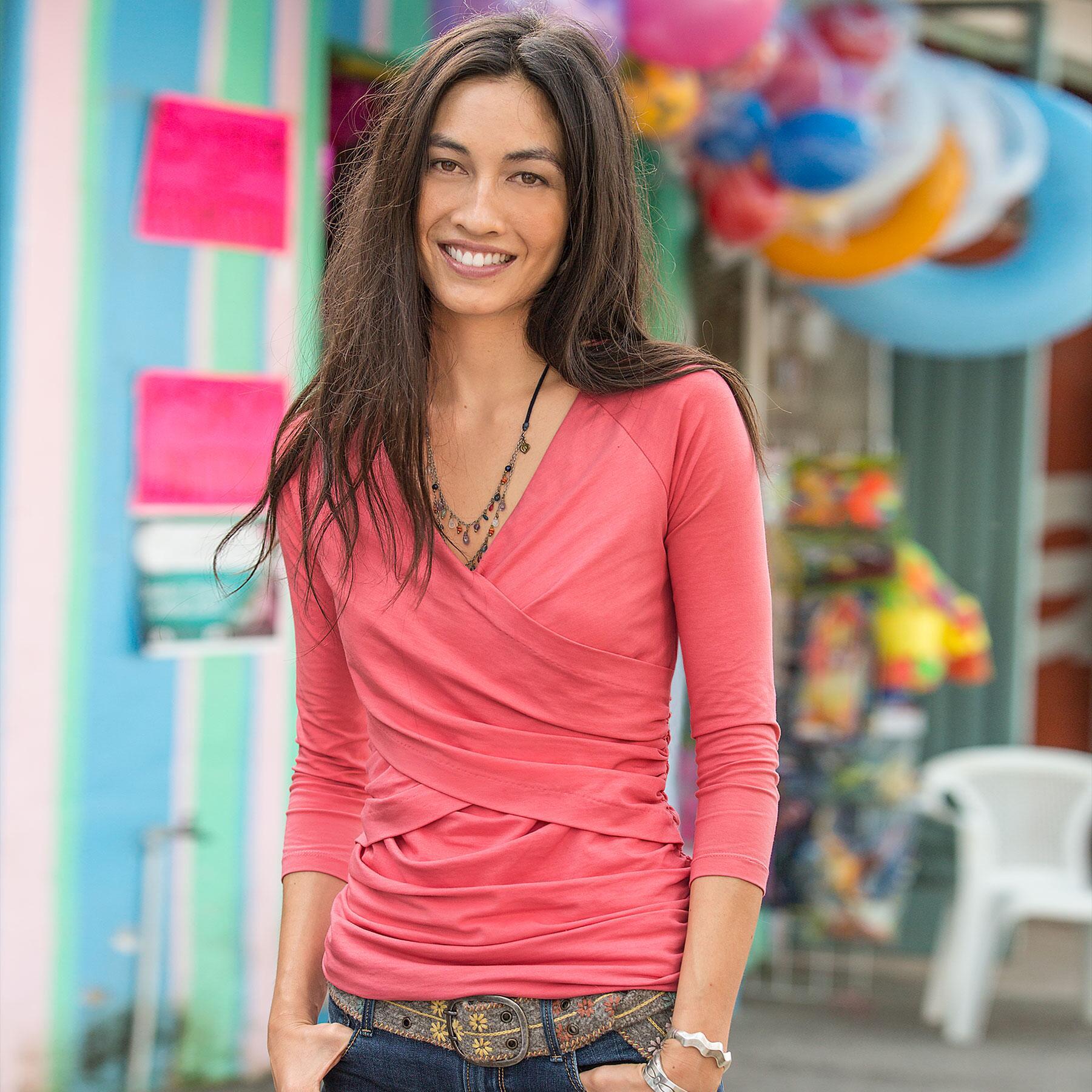 Vanessa 3/4 Sleeve T-Shirts-solid