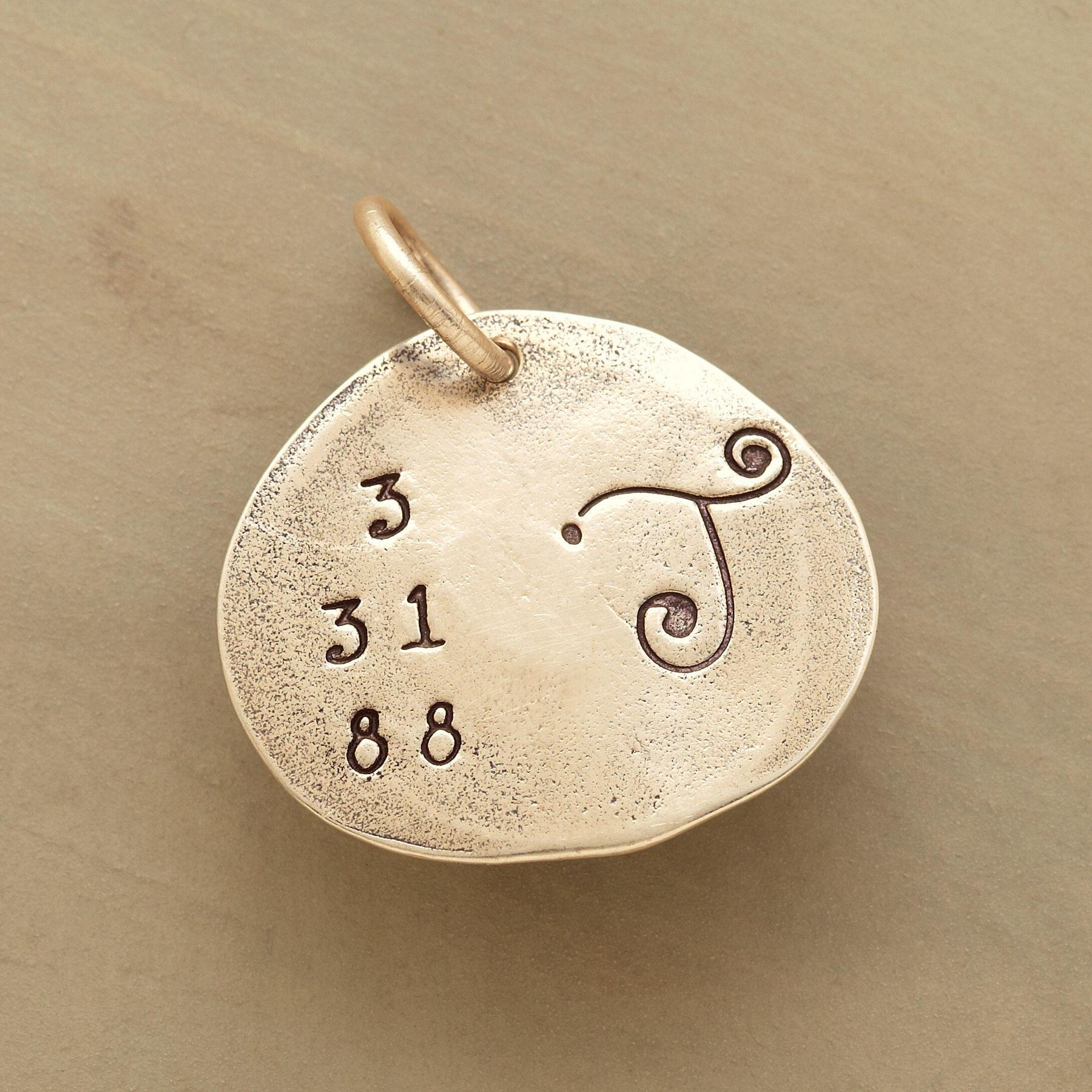 GOLD DATE & INITIAL CHARM: View 1