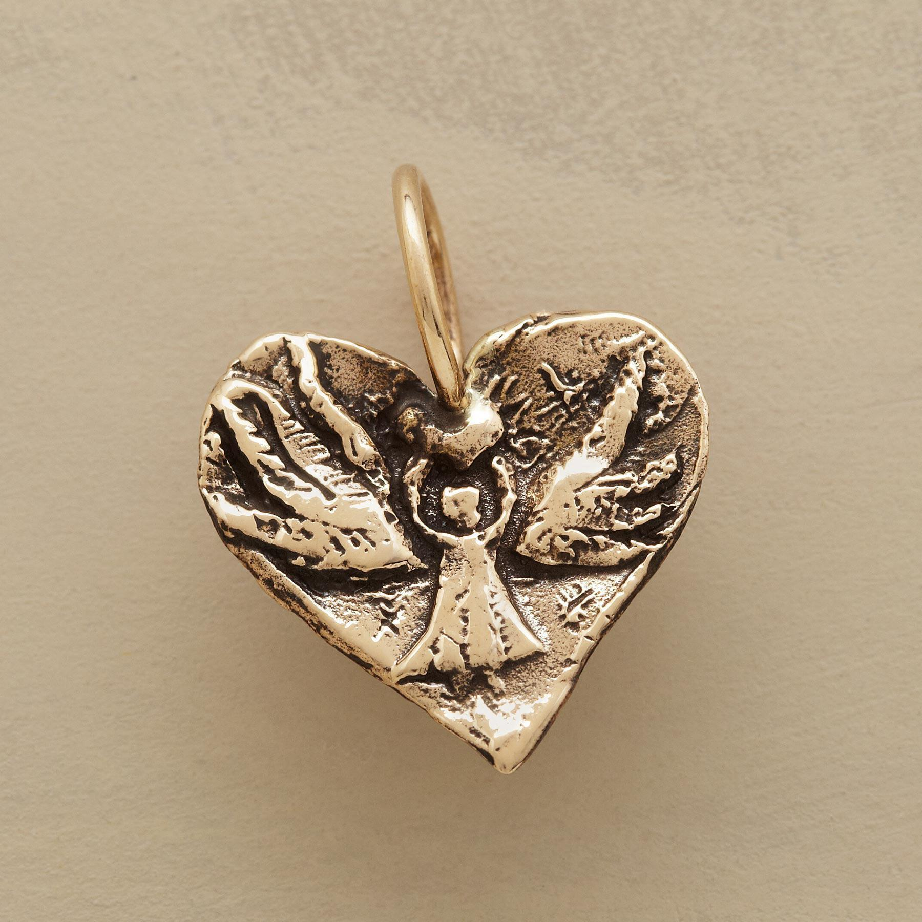 GOLD ANGEL HEART CHARM: View 1