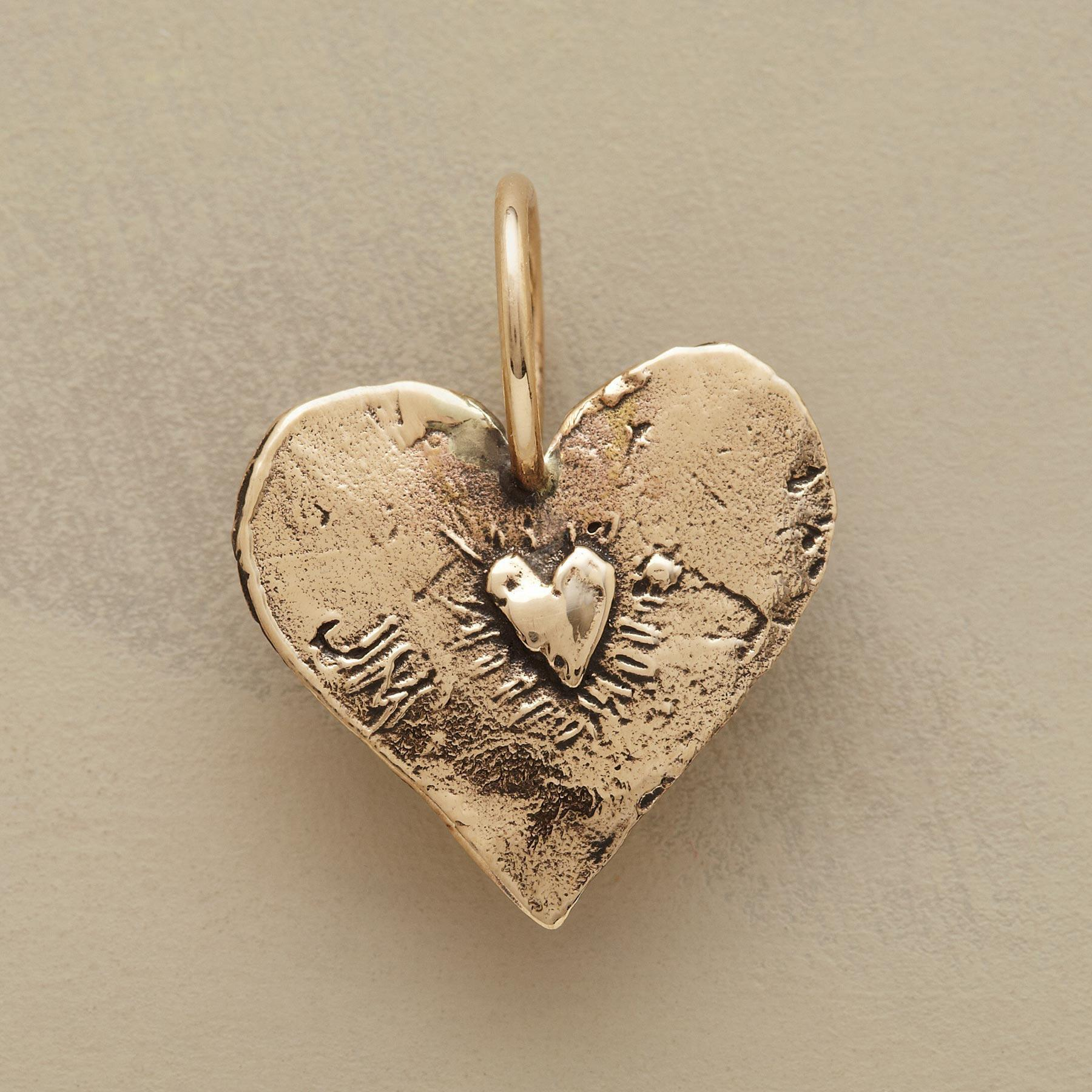 GOLD ANGEL HEART CHARM: View 2
