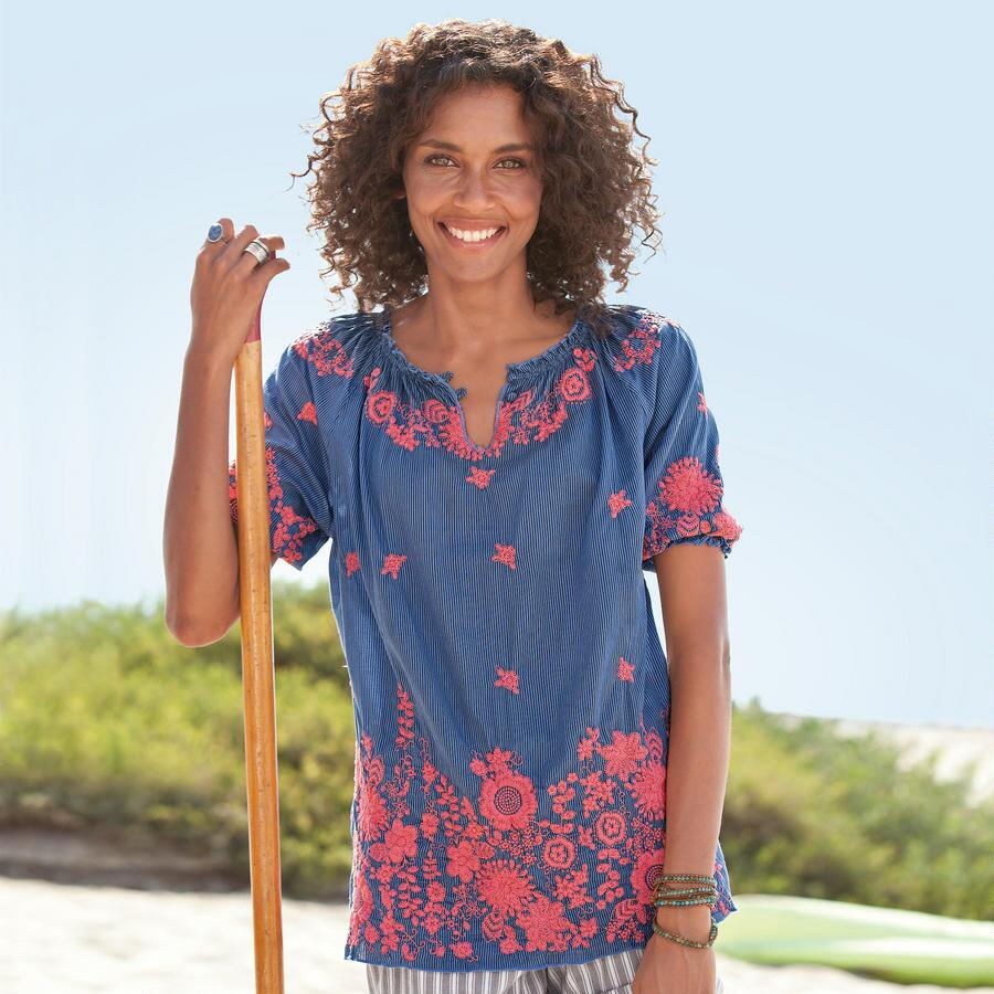 EMBROIDERD MORNING GLORY TUNIC