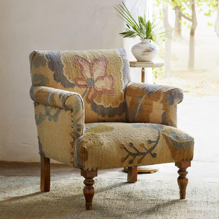PASSION FLOWER KILIM CLUB CHAIR