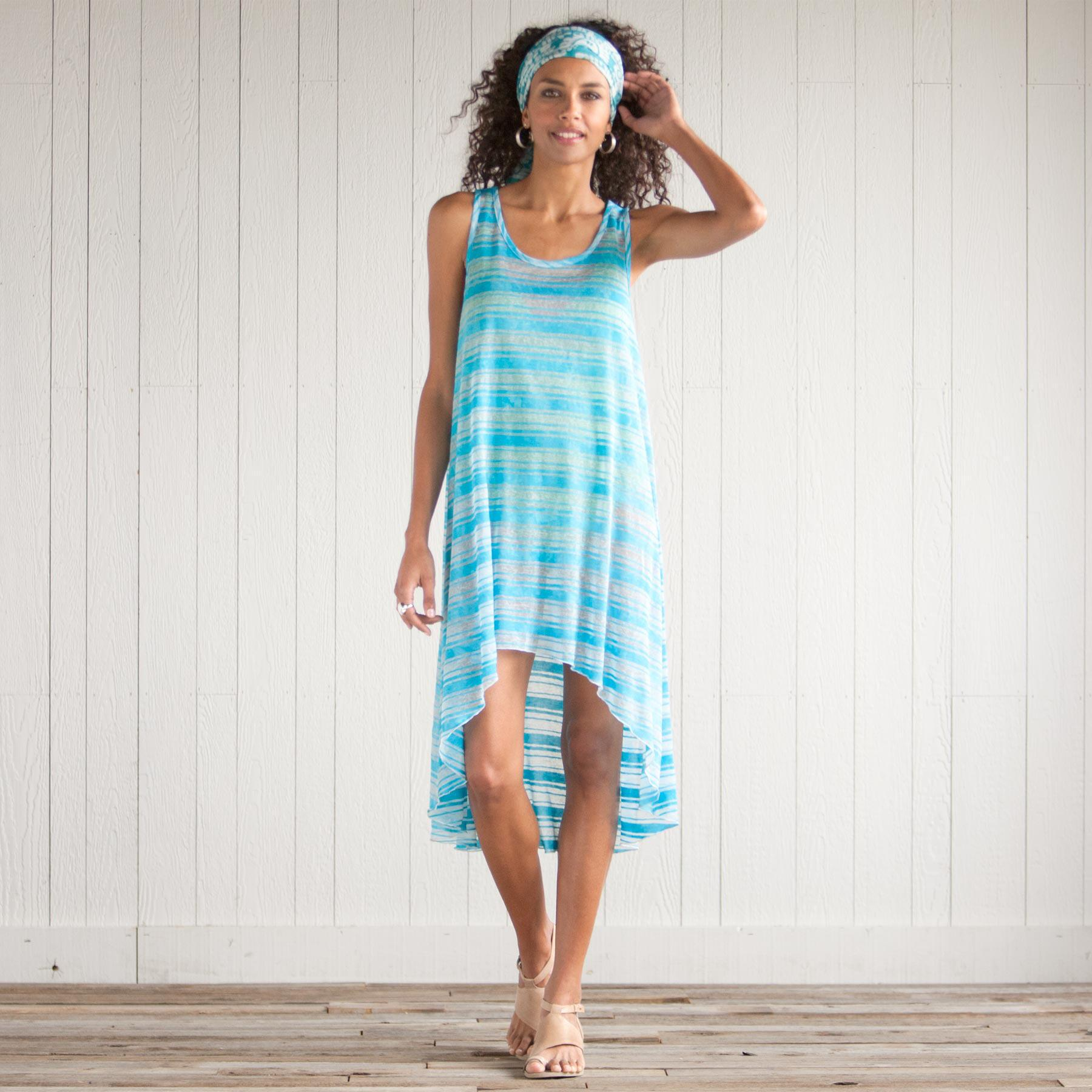 BLUE STREAK TANK DRESS: View 1