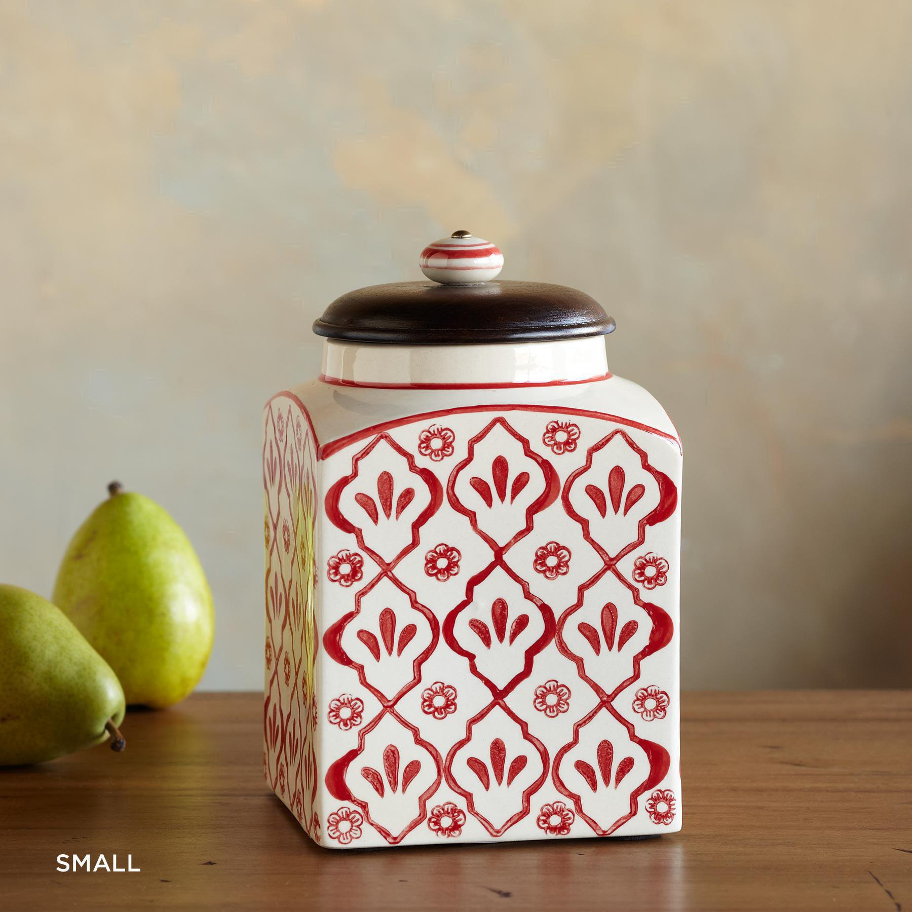 RED FLOWER CANISTERS: View 2