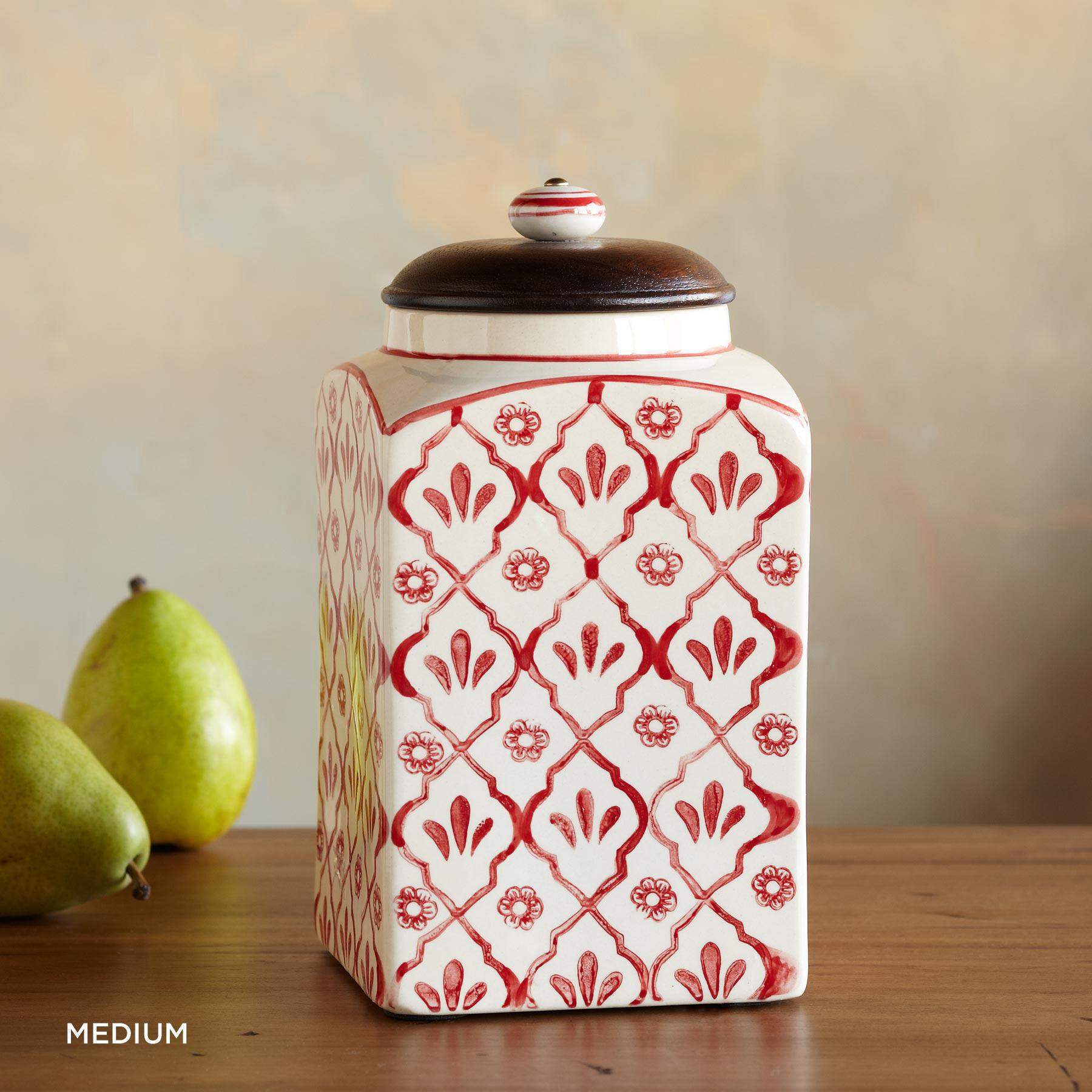 RED FLOWER CANISTERS: View 3