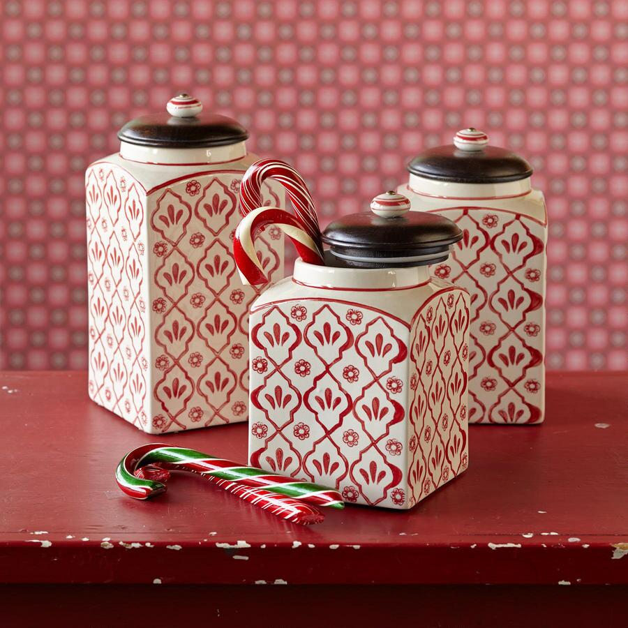 RED FLOWER CANISTERS, SET OF 3