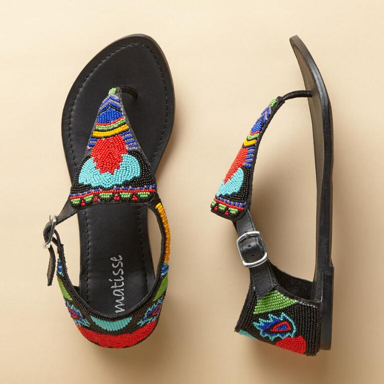 NEW BRIGHTLY BEADED SANDALS