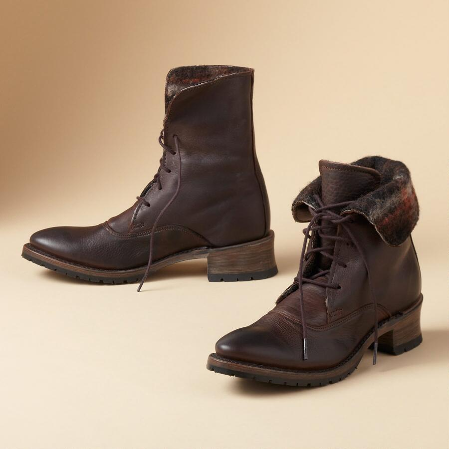 NEVE SHORT LACED BOOTS BY VINTAGE SHOE CO