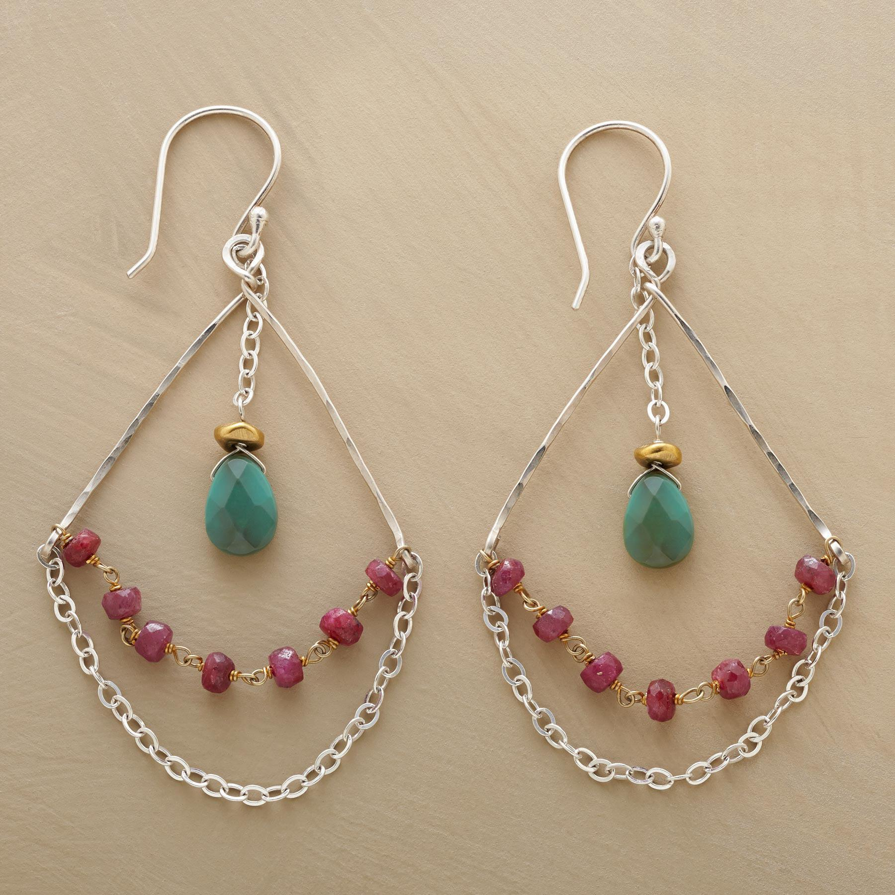 RUBY & TURQUOISE HIGHWIRE EARRINGS: View 1