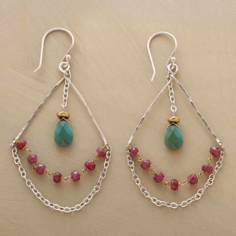 RUBY & TURQUOISE HIGHWIRE EARRINGS
