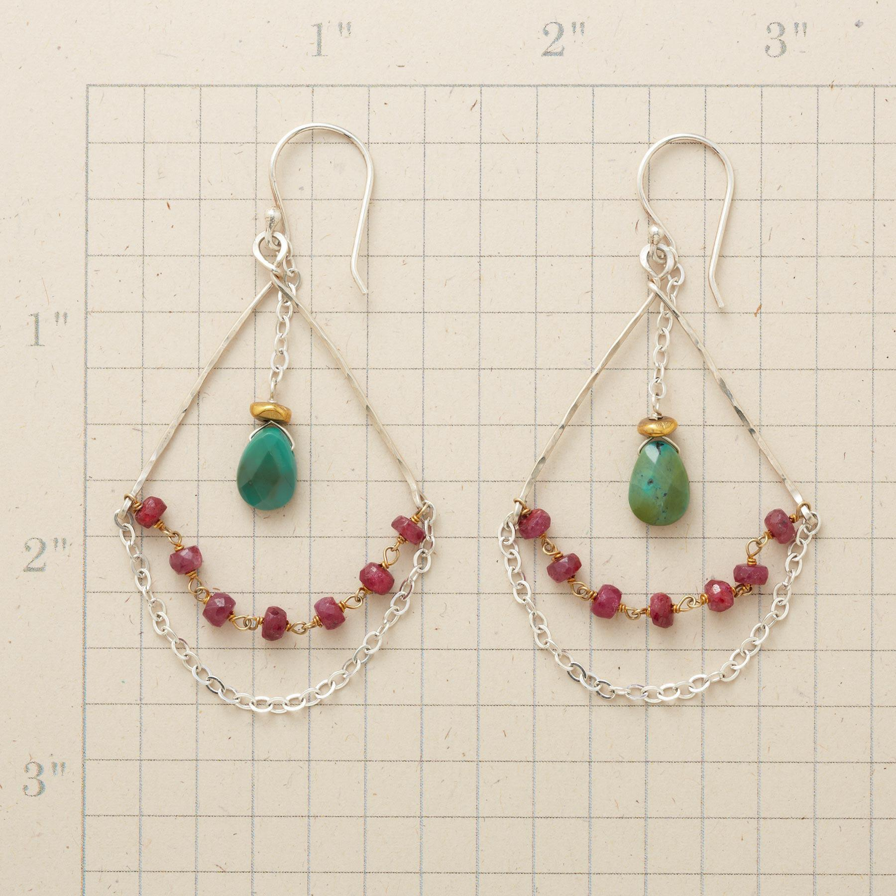RUBY & TURQUOISE HIGHWIRE EARRINGS: View 2