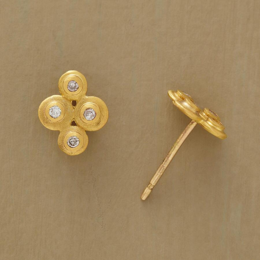 DIAMOND DISK BLOSSOM EARRINGS