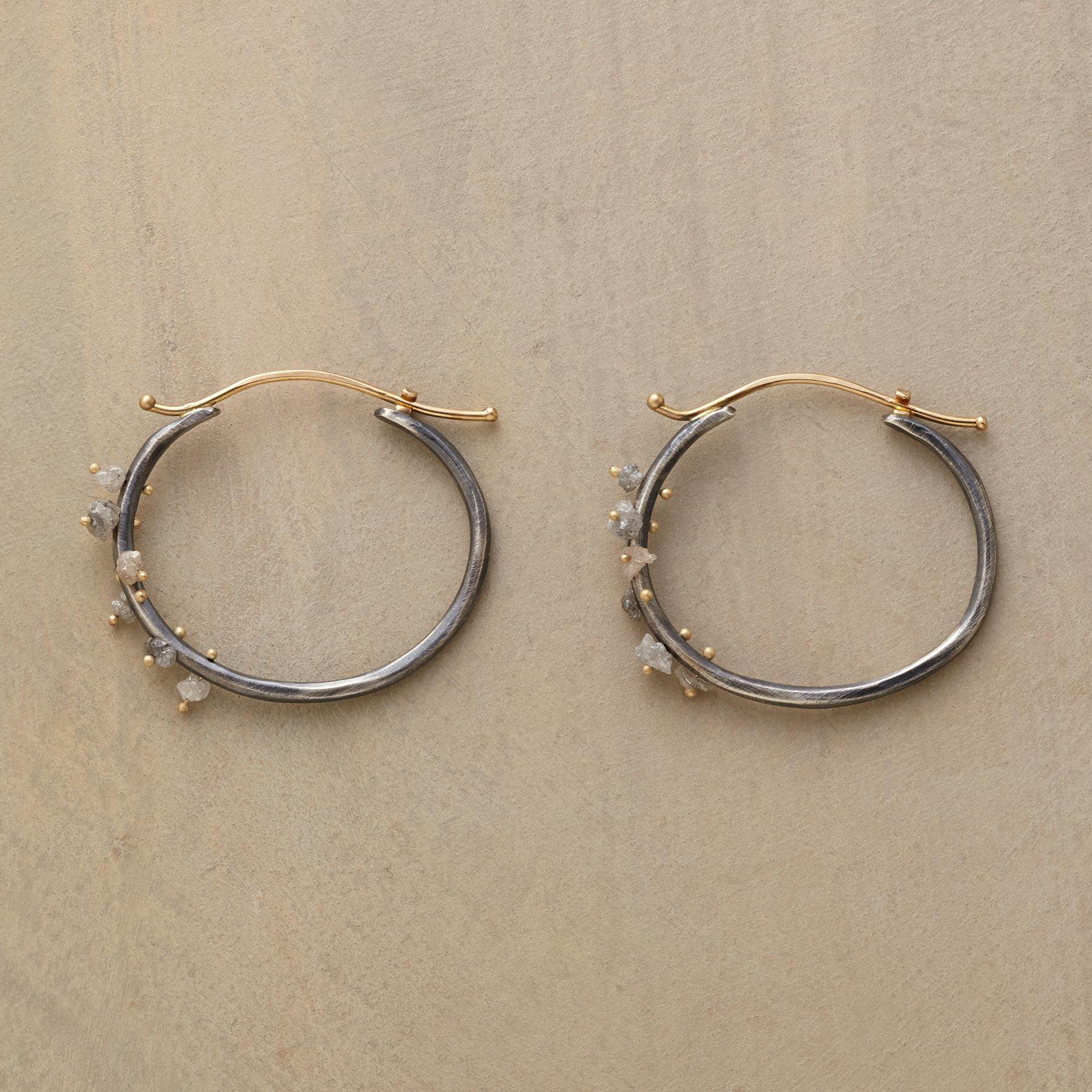 RAW DIAMOND CLUSTER HOOPS: View 1
