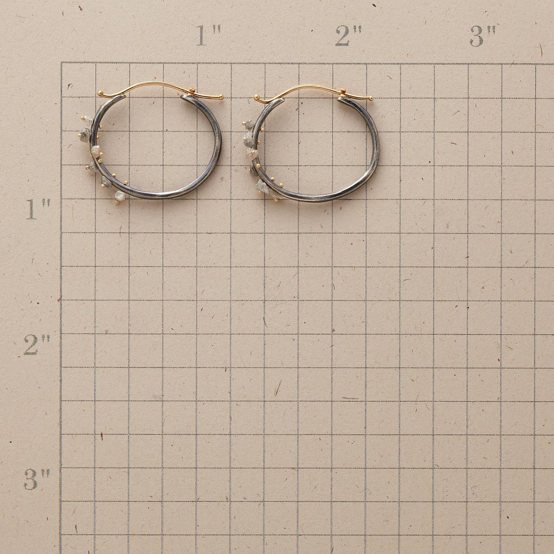 RAW DIAMOND CLUSTER HOOPS: View 2