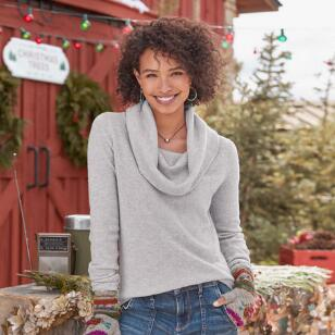 SWEET SENTIMENTS CASHMERE COWL-NECK