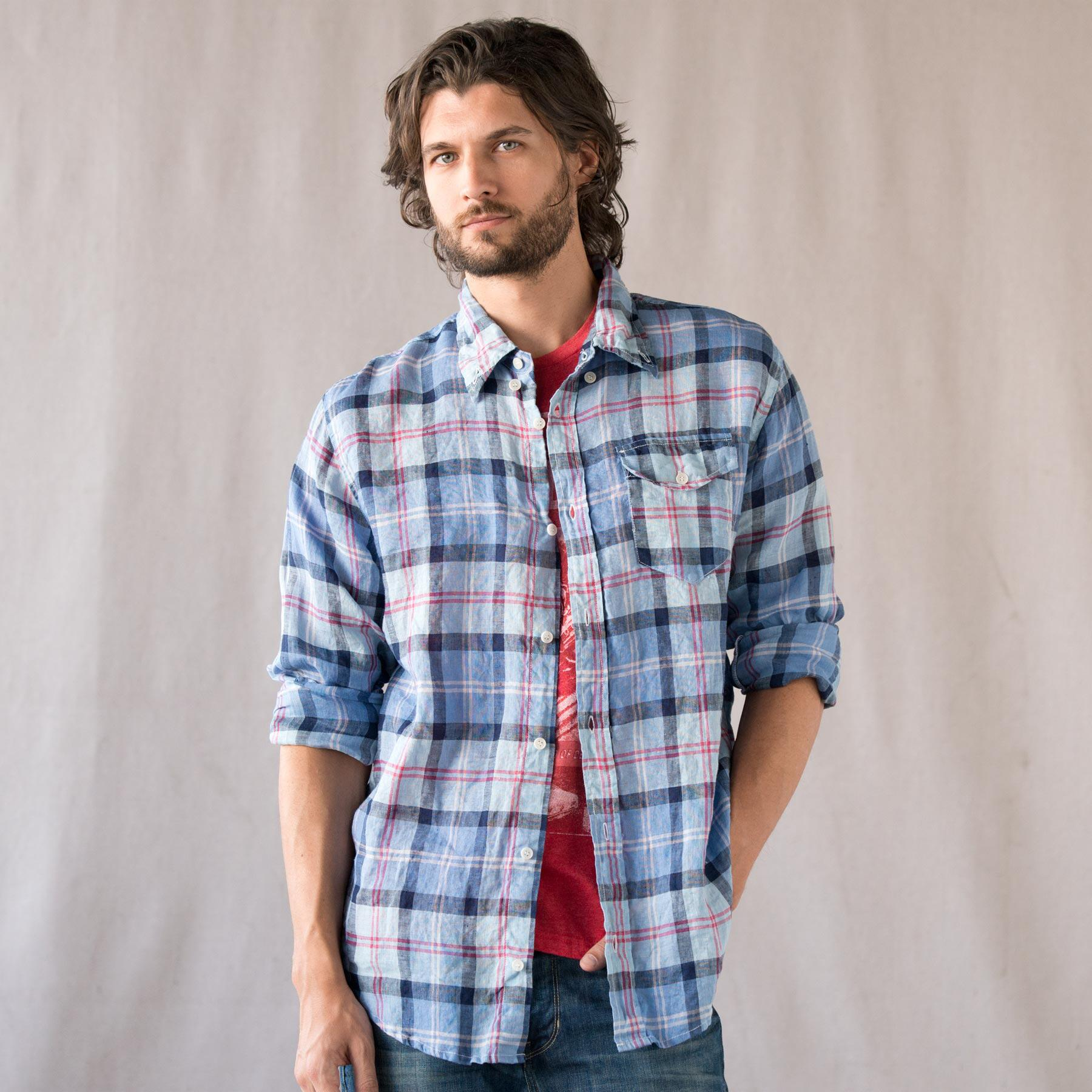 SUMMER PLAID LINEN SHIRT: View 1