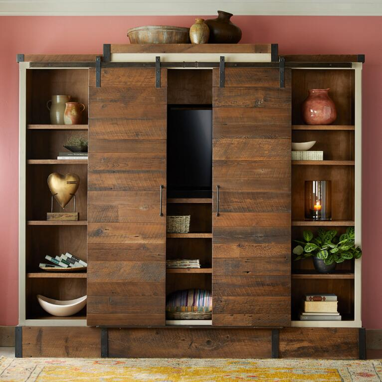 Reclaimed Wood Sliding Door Media Wall Cabinet Robert Redfords