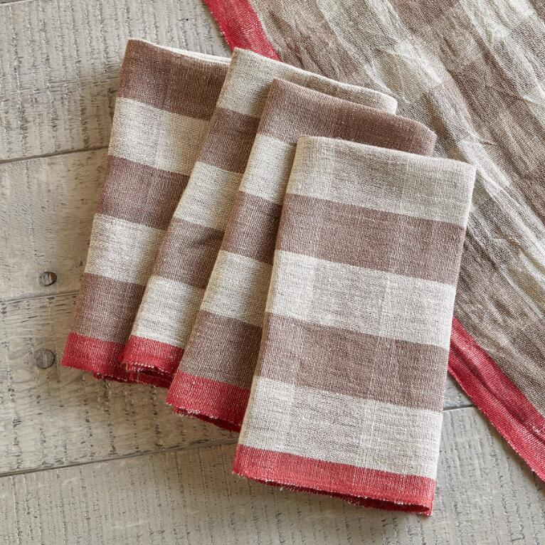 CALISTOGA CHECKERED NAPKINS, SET OF 4